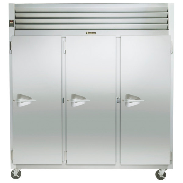 """Traulsen G30012 77"""" G Series Three Section Solid Door Reach-In Refrigerator with Right Hinged Doors - 69 cu. ft."""