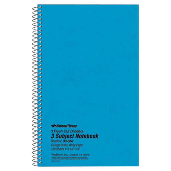"National 33360 9 1/2"" x 6"" Blue College Rule 3 Subject Wirebound Notebook - 150 Sheets"