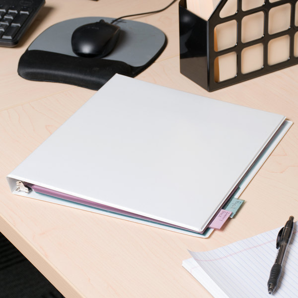 """Universal UNV20702 White Deluxe Non-Stick View Binder with 1/2"""" Round Rings Main Image 11"""