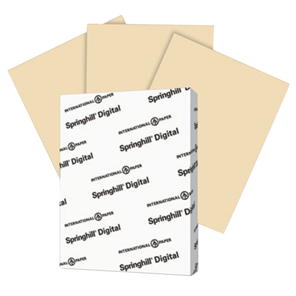 """International Paper 096000 Springhill Digital 8 1/2"""" x 11"""" Tan Pack of 7 pt. Vellum Paper Cover Stock - 250 Sheets Main Image 1"""