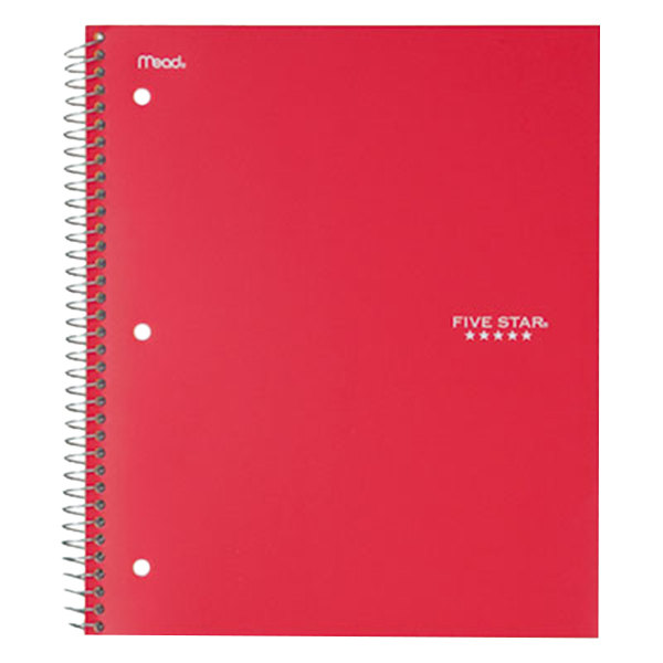 Five Star 72053 Red College Rule 1 Subject Trend Wirebound Notebook, Letter - 100 Sheets Main Image 1