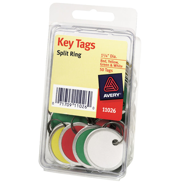 """Avery 11026 1 1/4"""" Metal Rim Assorted Color Card Stock Key Tag - 50/Pack Main Image 1"""