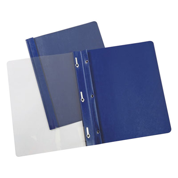 "Universal Office UNV56138 11"" x 8 1/2"" Dark Blue Paper Report Cover with Clear Cover and Prong Fasteners, Letter - 25/Box"