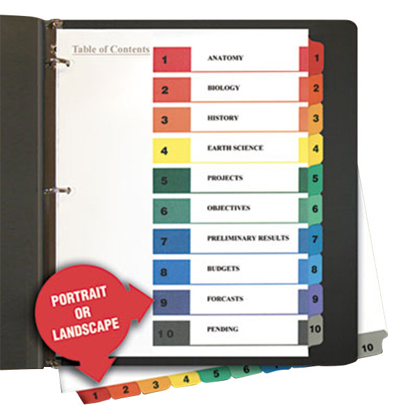 Universal UNV24804 Multi-Color 10-Tab Table of Contents Divider Set - 6/Pack