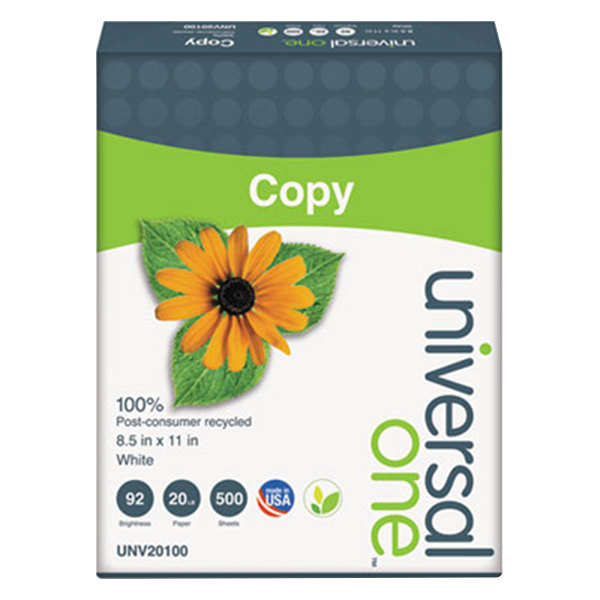 """Universal Office UNV20100 8 1/2"""" x 11"""" White Case of 20# 100% Recycled Copy Paper - 2500 Sheets"""