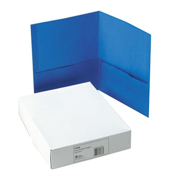 Avery 47986 Letter Size 2-Pocket Paper Folder, Light Blue - 25/Box