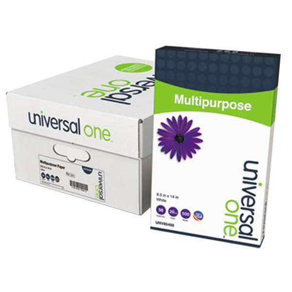"""Universal Office UNV95400 8 1/2"""" x 14"""" Bright White Case of 20# Multipurpose Paper - 5000 Sheets Main Image 1"""