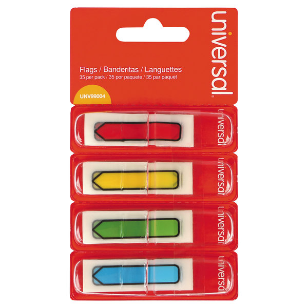 """Universal UNV99004 1/2"""" x 1 3/4"""" Assorted Color Page Flag with Dispenser - 4/Pack Main Image 1"""