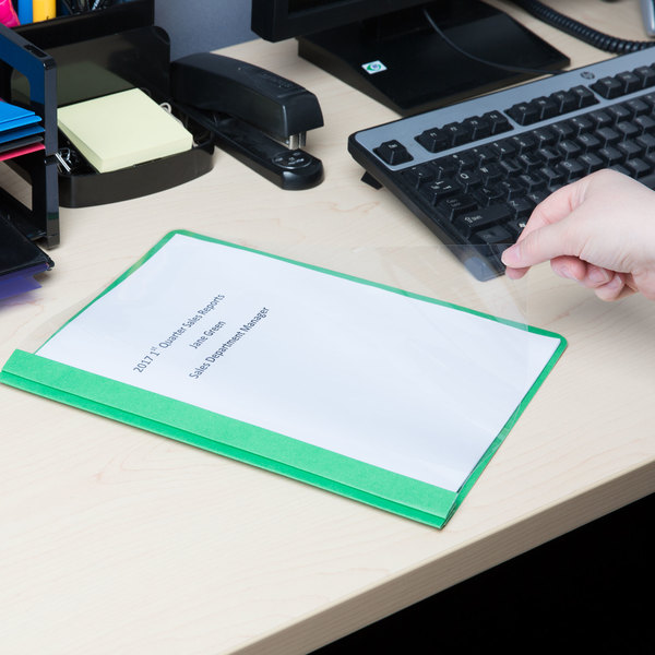 """Universal Office UNV57124 11"""" x 8 1/2"""" Green Leatherette Embossed Paper Report Cover with Clear Cover and Prong Fasteners, Letter - 25/Box Main Image 8"""