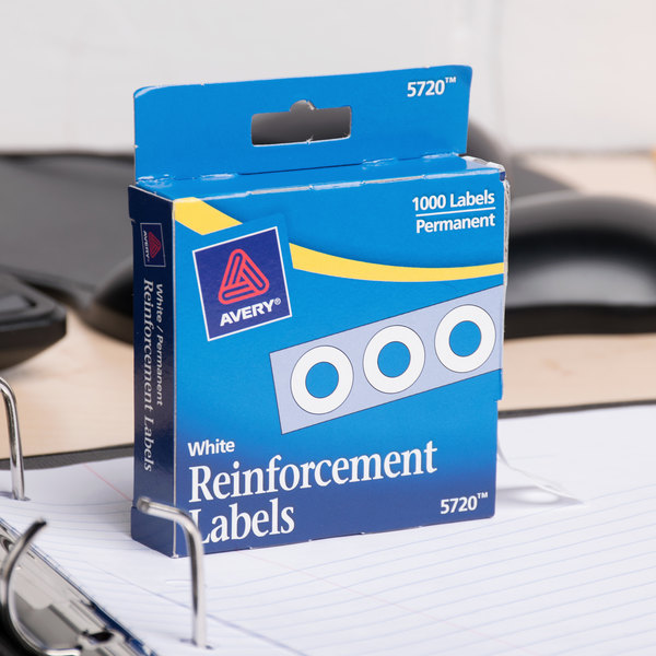 """Avery 5720 1/4"""" White Hole Reinforcement Label with Dispenser - 1000/Pack Main Image 6"""