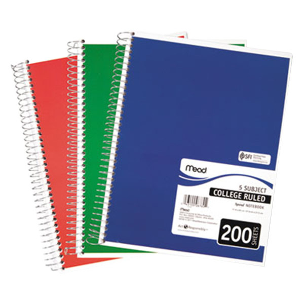 """Mead 06780 8"""" x 11"""" Assorted Color College Rule 5 Subject Spiral Bound Notebook - 200 Sheets Main Image 1"""