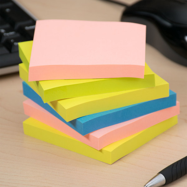 """Universal UNV35612 3"""" x 3"""" Assorted Neon Color Self-Stick Note - 12/Pack Main Image 8"""