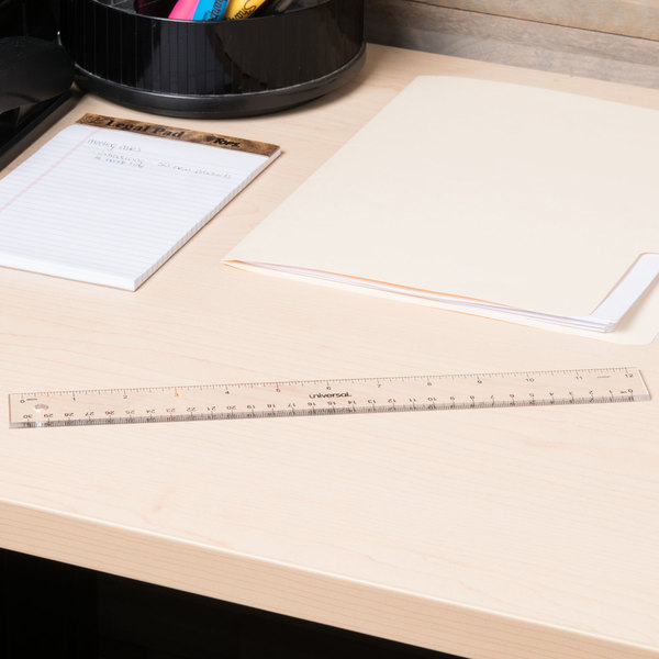 """Universal UNV59022 Clear Acrylic Plastic Ruler - 1/16"""" Standard Scale Main Image 2"""