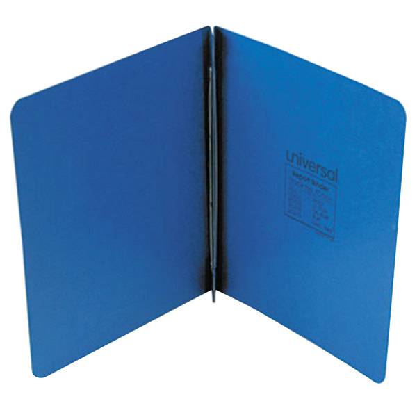 "Universal Office UNV80573 11"" x 8 1/2"" Dark Blue Pressboard Report Cover with Prong Fastener, Letter Main Image 1"