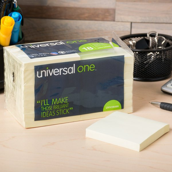 "Universal UNV28068 3"" x 3"" Yellow Recycled Sticky Note - 18/Pack"