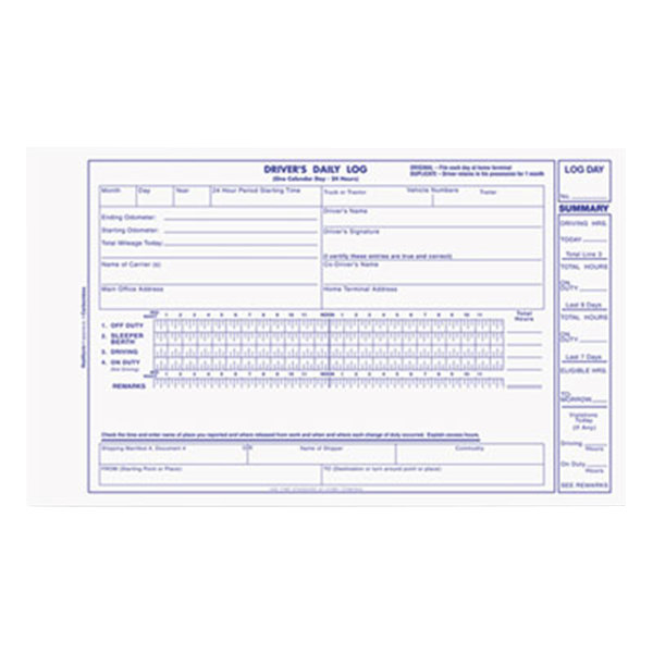 "Rediform Office S5031NCL Driver's Daily Log, 8 3/4"" x 5 3/8"" 2-Part Carbonless, 31 Sets/Book"