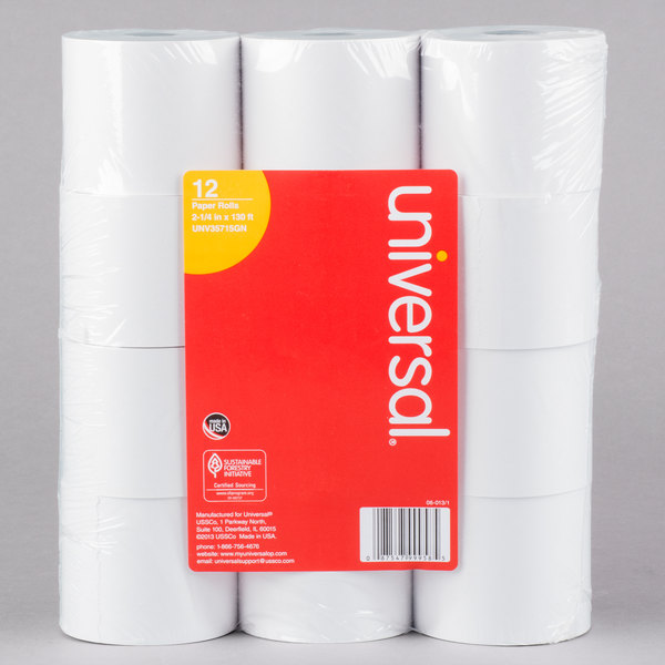 Universal Office UNV35715GN 2 1/4 inch x 130' White 1-Ply Adding Machine and Calculator 16# Paper Roll - 12/Pack