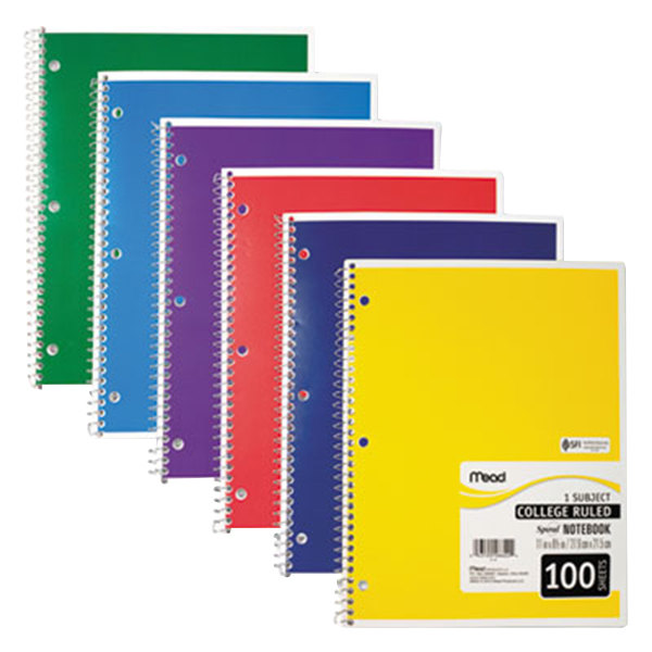 "Mead 06622 11"" x 8"" Assorted Color College Rule 1 Subject Spiral Bound Notebook - 100 Sheets Main Image 1"