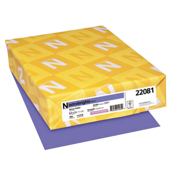 "Astrobrights 22081 8 1/2"" x 11"" Venus Violet Ream of 24# Smooth Color Copy Paper - 500 Sheets Main Image 1"