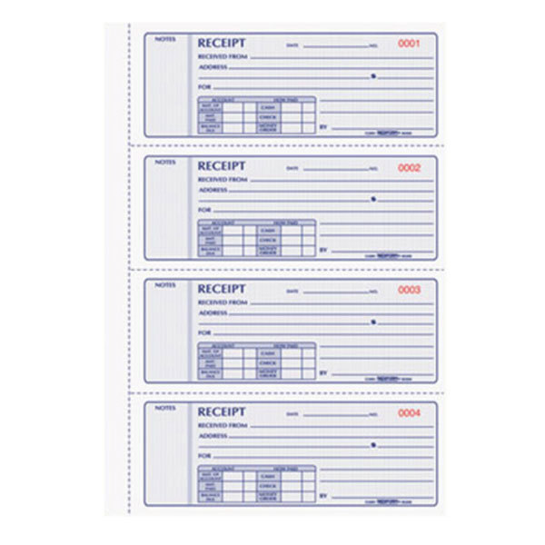 Rediform Office 8K808 3-Part Carbon Flexible Cover Numbered Receipt Book with 200 Sheets Main Image 1