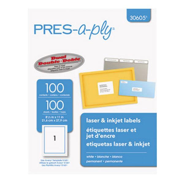"""Avery 30605 8 1/2"""" x 11"""" White Full-Sheet Laser Labels - 100/Box"""