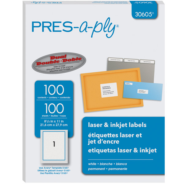 "Avery 30605 8 1/2"" x 11"" White Full-Sheet Laser Labels - 100/Box Main Image 1"