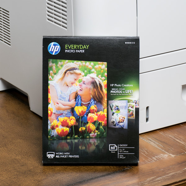 """Hewlett-Packard CH097A 5"""" x 7"""" Glossy Everyday Pack of 8 mil Photo Paper - 60 Sheets"""