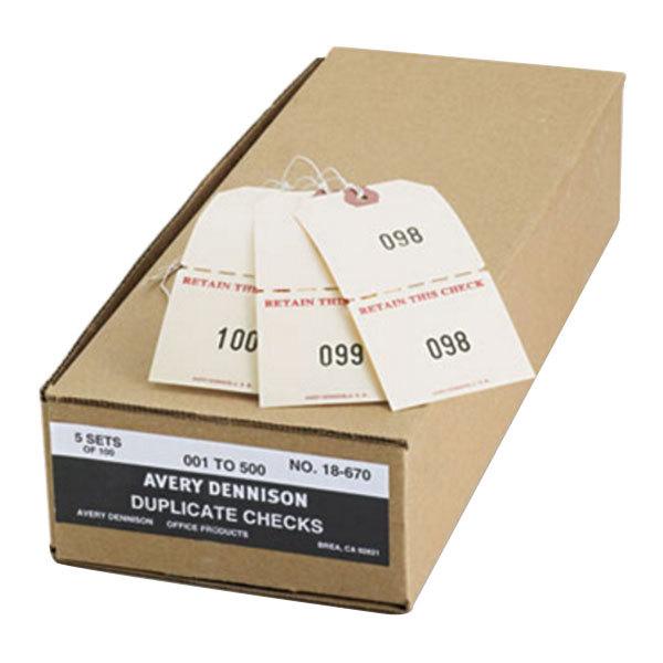 """Avery 18670 4 3/4"""" x 2 3/8"""" Manila Extra Large Claim Check - #1 to #500 - 500/Box Main Image 1"""