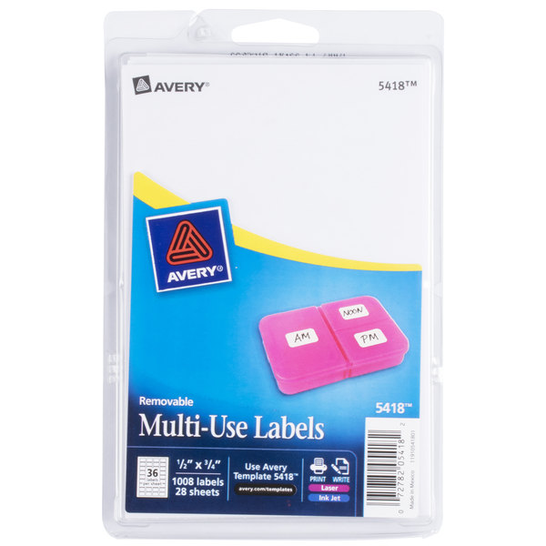 Avery 5418 1 2 X 3 4 White Rectangular Removable Write On Printable Labels 1008 Pack