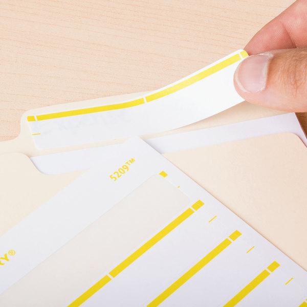 "Avery 05209 11/16"" x 3 7/16"" White / Yellow Rectangular Write-On / Printable 1/3 Cut File Folder Labels - 252/Pack"