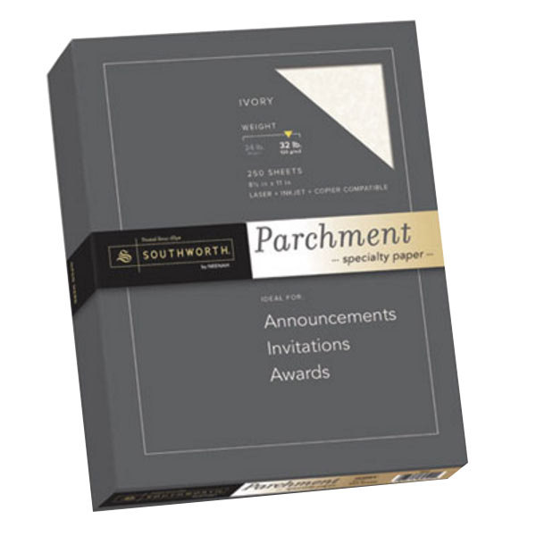 """Southworth J988C 8 1/2"""" x 11"""" Ivory Pack of 32# Specialty Parchment Paper - 250 Sheets Main Image 1"""