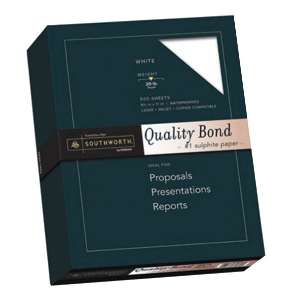 "Southworth 3162010 8 1/2"" x 11"" Ream of 20# Quality Bond #1 Sulphite Paper - 500 Sheets"