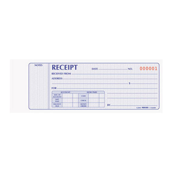 Rediform Office 8L800 2-Part Carbonless Flexible Cover Numbered Receipt Book with 100 Sheets