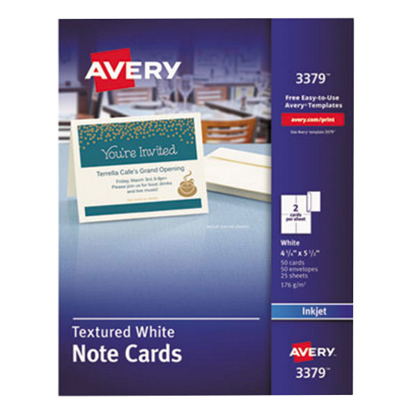 """Avery 3379 4 1/4"""" x 5 1/2"""" Printable Textured Note Cards with Envelopes - 50/Pack"""