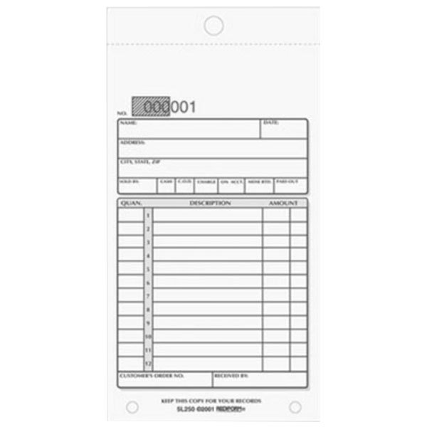 "Rediform Office 5L250 3 5/8"" x 6 3/8"" 3-Part Carbonless Sales Book 50 Forms Main Image 1"