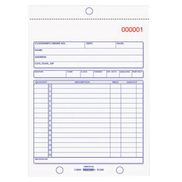 "Rediform Office 5L320 5 1/2"" x 7 7/8"" 2-Part Carbonless Sales Book 50 Forms"