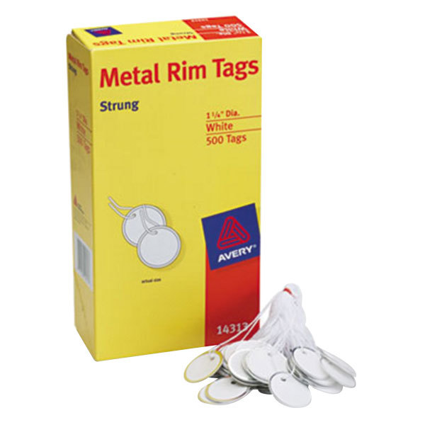 "Avery 14313 1 1/4"" White Heavy Weight Metal Rim Tag - 500/Box Main Image 1"