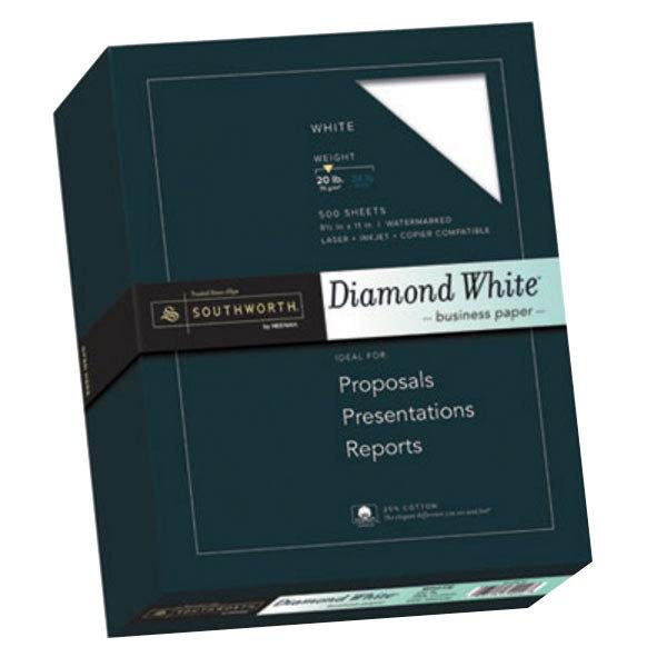 "Southworth 3122010 8 1/2"" x 11"" Diamond White Ream of 25% Cotton 20# Business Paper - 500 Sheets Main Image 1"