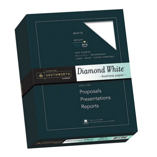 """Southworth 3122410 8 1/2"""" x 11"""" Diamond Ream of 25% Cotton 24# Business Paper - 500 Sheets"""