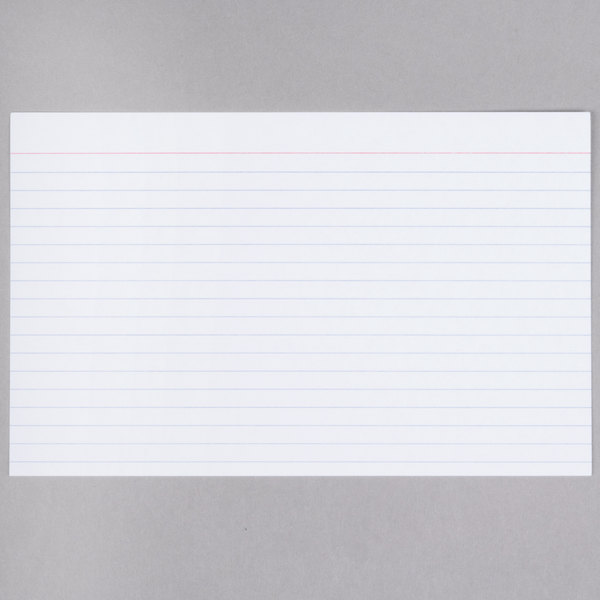Universal UNV47250 5 inch x 8 inch White Ruled Index Cards  - 100/Pack