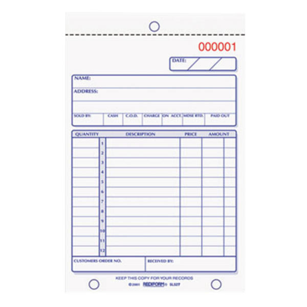 "Rediform Office 5L527 4 1/4"" x 6 3/8"" 2-Part Carbonless Sales Book 50 Forms"