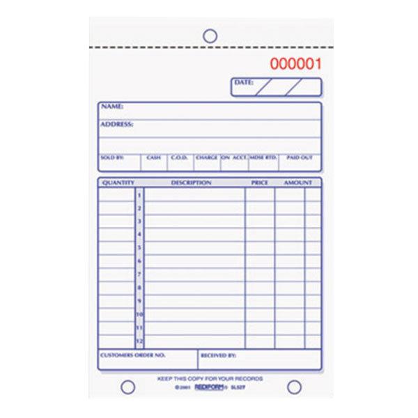 "Rediform Office 5L527 4 1/4"" x 6 3/8"" 2-Part Carbonless Sales Book 50 Forms Main Image 1"
