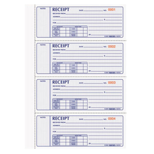 Rediform Office 8L818 3-Part Carbonless Hard Cover Numbered Receipt Book with 200 Sheets