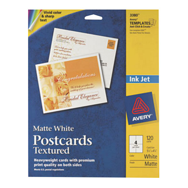 """Avery 3380 4 1/4"""" x 5 1/2"""" Printable Heavyweight Textured Postcards - 120/Pack"""