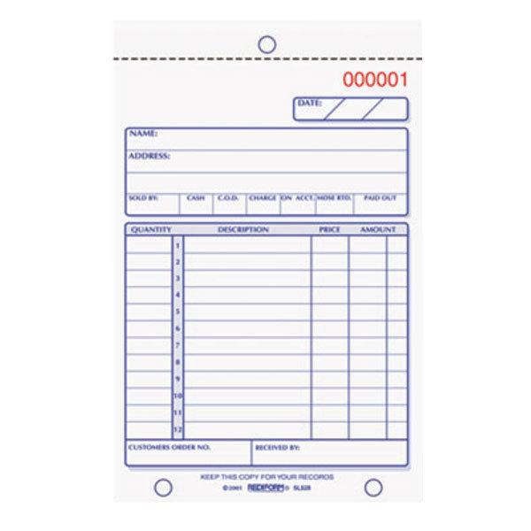 "Rediform Office 5L528 4 1/4"" x 6 3/8"" 3-Part Carbonless Sales Book 50 Forms"