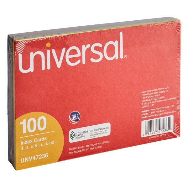 """Universal UNV47236 4"""" x 6"""" Assorted Color Ruled Index Cards - 100/Pack"""
