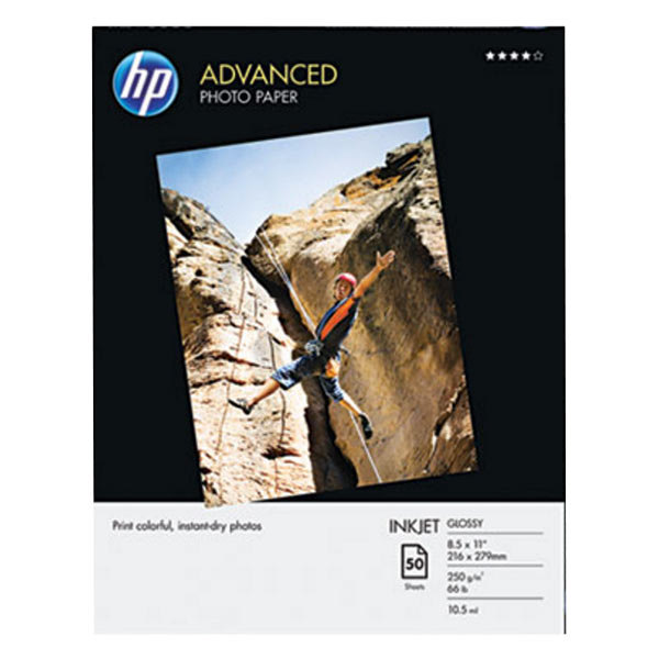 """Hewlett-Packard Q7853A 8 1/2"""" x 11"""" Glossy Advanced Pack of 56# Photo Paper - 50 Sheets Main Image 1"""