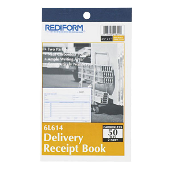 """Rediform Office 6L614 Delivery Receipt Book, 6 3/8"""" x 4 1/4"""" Two-Part Carbonless, 50 Sets/Book"""