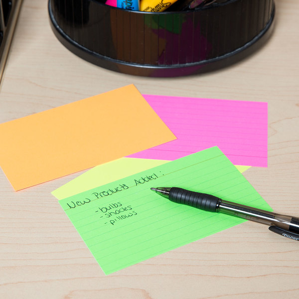 """Universal UNV47217 3"""" x 5"""" Neon Glow Ruled Index Cards - 100/Pack"""