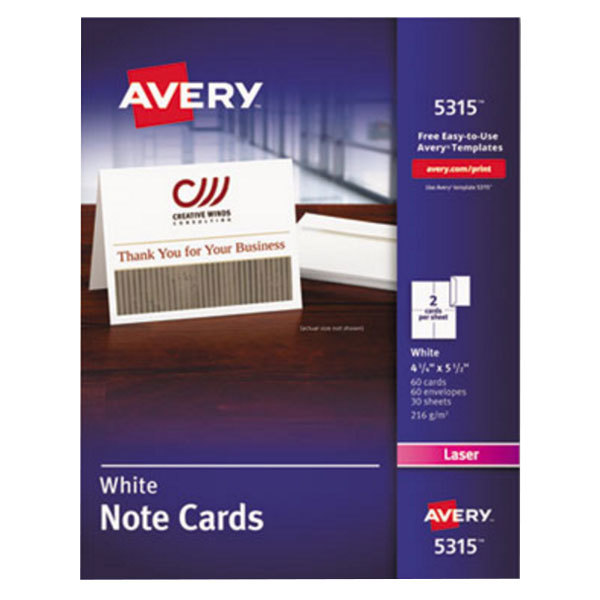 """Avery 5315 4 1/4"""" x 5 1/2"""" Uncoated White Note Cards with Envelopes - 60/Pack Main Image 1"""